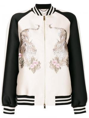Куртка Lorinda с вышитыми тиграми Stella McCartney. Цвет: телесный