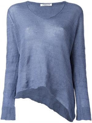 Трикотажная блузка с V-образным вырезом Lamberto Losani. Цвет: синий