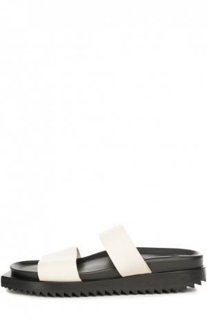 Кожаные шлепанцы на рифленой подошве Ann Demeulemeester. Цвет: белый