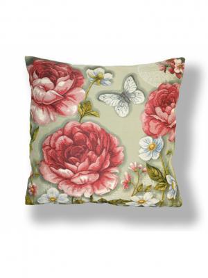 Гобеленовая наволочка Бабочка в цветах  44х44 см Рапира. Цвет: розовый, серый, бежевый
