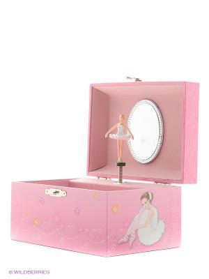 Музыкальная шкатулка с фигуркой в форме прямоугольника Jakos. Цвет: розовый, белый, рыжий