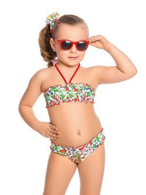 Купальник для девочек Arina. Цвет: зеленый, белый, красный