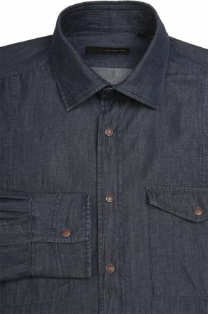 Рубашка из денима с воротником кент Stanbridge. Цвет: темно-синий