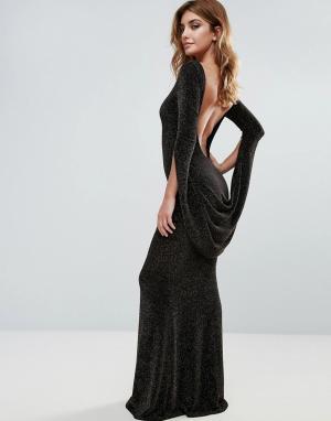 City Goddess Платье макси с длинными рукавами и открытой спиной. Цвет: черный