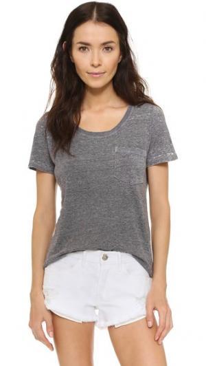 Винтажная футболка с карманом MONROW. Цвет: белый