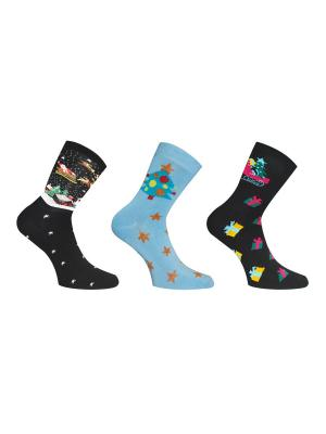 Носки, 3 пары Master Socks. Цвет: антрацитовый, голубой