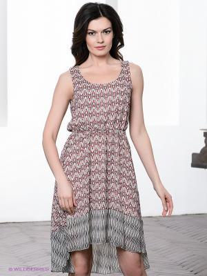 Платье Vila. Цвет: красный, серый