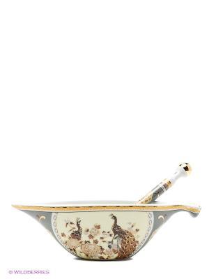 Икорница с ложкой Павлин на бежевом Elan Gallery. Цвет: бежевый, белый, коричневый