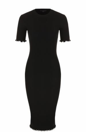 Платье-футляр фактурной вязки с круглым вырезом Alexander Wang. Цвет: черный