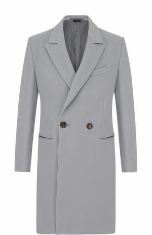 Двубортное шерстяное пальто с отложным воротником Zegna Couture. Цвет: светло-серый