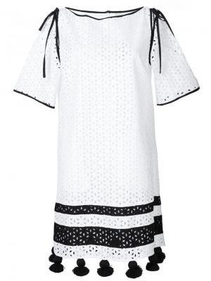 Платье-шифт с кисточками на подоле Monse. Цвет: белый