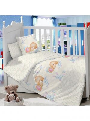 Комплект постельного белья в детскую кроватку из сатина (простыня на резинке) Ивбэби. Цвет: голубой, молочный, светло-коричневый