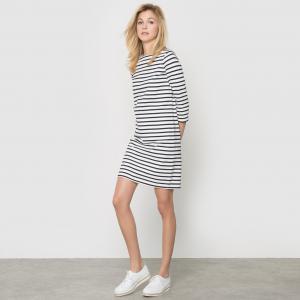 Платье в полоску, 100% хлопка R essentiel. Цвет: в полоску бежевый/ красный