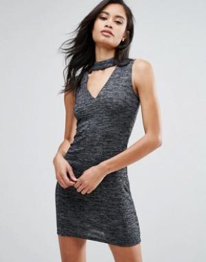 Parisian Облегающее платье с горловиной-чокер. Цвет: серый