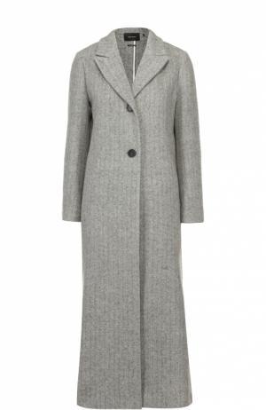 Удлиненное шерстное пальто с широкими лацканами Isabel Marant. Цвет: светло-серый