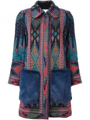 Пальто с этническим узором Giada Benincasa. Цвет: синий