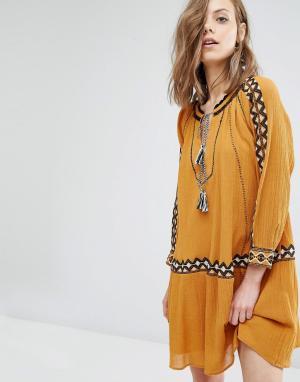 BA&SH Платье с вышивкой Salma. Цвет: желтый