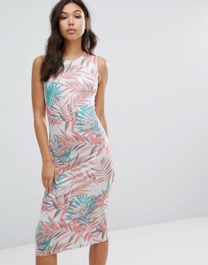 House of Holland Платье с пальмовым принтом. Цвет: белый
