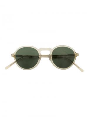 Солнцезащитные очки в круглой оправе Hakusan. Цвет: телесный