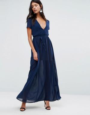 Pixie & Diamond Платье макси с завязкой на талии. Цвет: темно-синий