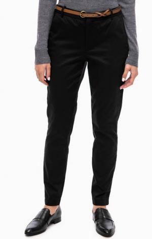 Хлопковые брюки чиносы b.young. Цвет: черный