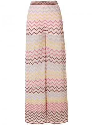 Широкие брюки с зигзагообразным принтом M Missoni. Цвет: розовый и фиолетовый