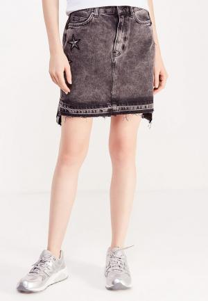 Юбка джинсовая Guess Jeans. Цвет: серый