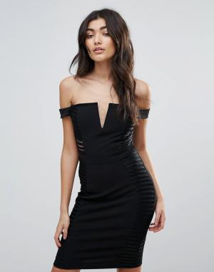 Parisian Облегающее платье со спущенными плечами и разрезами. Цвет: черный