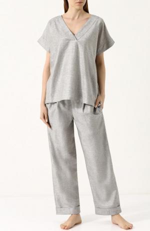 Пижама свободного кроя из смеси хлопка и льна Zimmerli. Цвет: серый