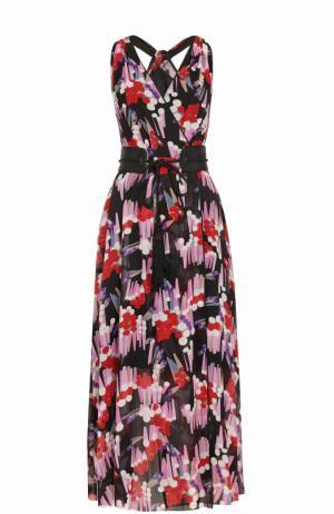 Шелковое платье-миди с принтом и поясом Marc Jacobs. Цвет: черный