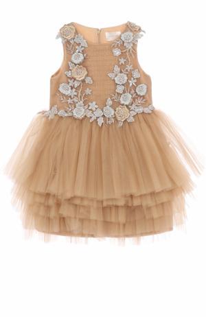 Мини-платье с многослойной юбкой и декором Mischka Aoki. Цвет: золотой