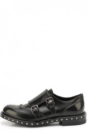 Кожаные монки с заклепками на подошве Dolce & Gabbana. Цвет: черный