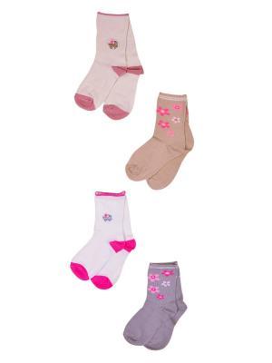 Носки, 4 пары Malerba. Цвет: серый, бежевый