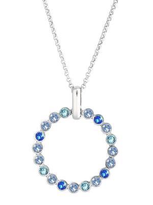 Длинный кулон Rondelle с голубыми и синими кристаллами Swarovski Mademoiselle Jolie Paris. Цвет: голубой, светло-голубой, серебристый