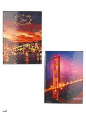 Комплект книг для записей 100 листов, 2 штуки, дизайна. Городской стиль Канц-Эксмо. Цвет: оранжевый, сиреневый