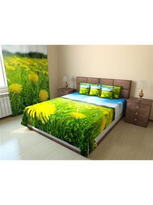 Покрывало Стандартное 215X175 Олимп Текстиль. Цвет: салатовый, желтый, оливковый