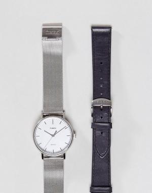 Timex Часы со сменным ремешком Fairfield. Цвет: серебряный