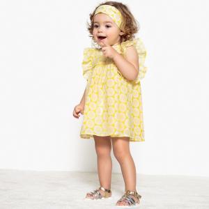 Комплект: платье и повязка, 1 мес. - 3 года La Redoute Collections. Цвет: желтый