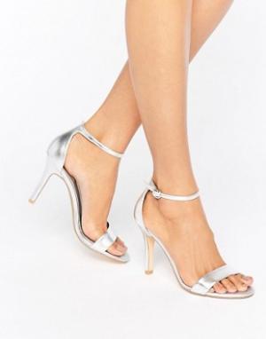 Dune Серебристые сандалии из двух частей на каблуке Hydro. Цвет: серебряный