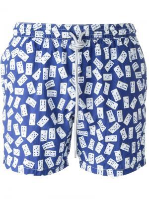 Плавательные шорты с принтом домино Capricode. Цвет: синий
