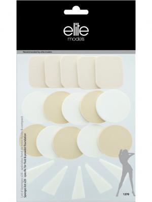 Набор спонжей для жидкой и компактной тональной основы 20 шт марки ELITE ELITE.. Цвет: белый, бежевый, розовый