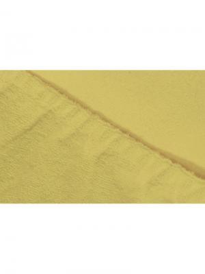Простыня на резинке махровая 160х200 ECOTEX. Цвет: желтый