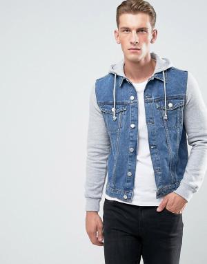 New Look Выбеленная джинсовая куртка с трикотажными рукавами. Цвет: синий