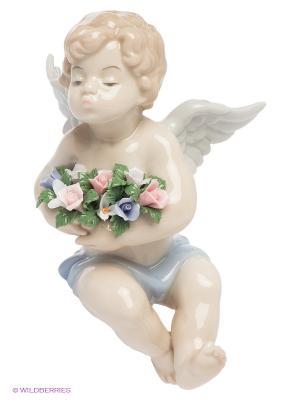 Фигурка на полку Мальчик-ангелочек Pavone. Цвет: бежевый, розовый, зеленый