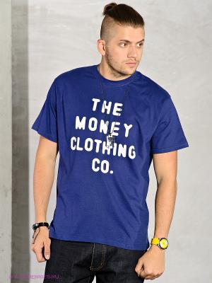 Футболка Money. Цвет: синий, белый