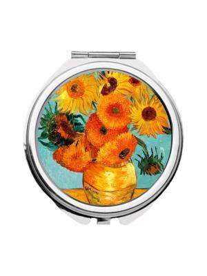 Зеркальце карманное Ван Гог, Подсолнухи Chocopony. Цвет: голубой, оранжевый, светло-коричневый