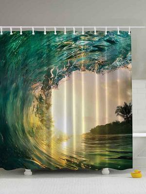 Фотоштора для ванной Все оттенки изумруда, 180*200 см Magic Lady. Цвет: бирюзовый, бежевый, желтый, зеленый, морская волна