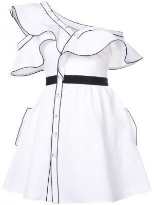 Расклешенное платье с оборками Self-Portrait. Цвет: белый