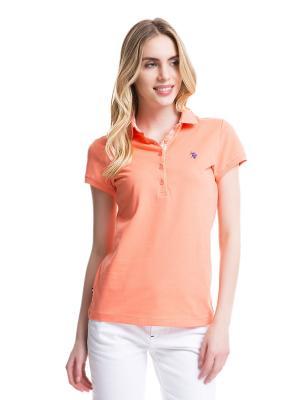 Футболка-поло U.S. Polo Assn.. Цвет: розовый, оранжевый