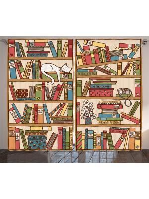 Фотошторы Кошка на книжной полке, 290*265 см Magic Lady. Цвет: бежевый, красный, оранжевый, розовый, белый, голубой